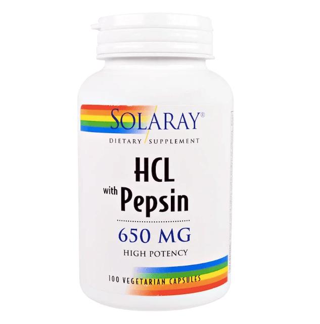 SOLARAY社の胃酸を補充するペプシン入りの塩酸ベタイン