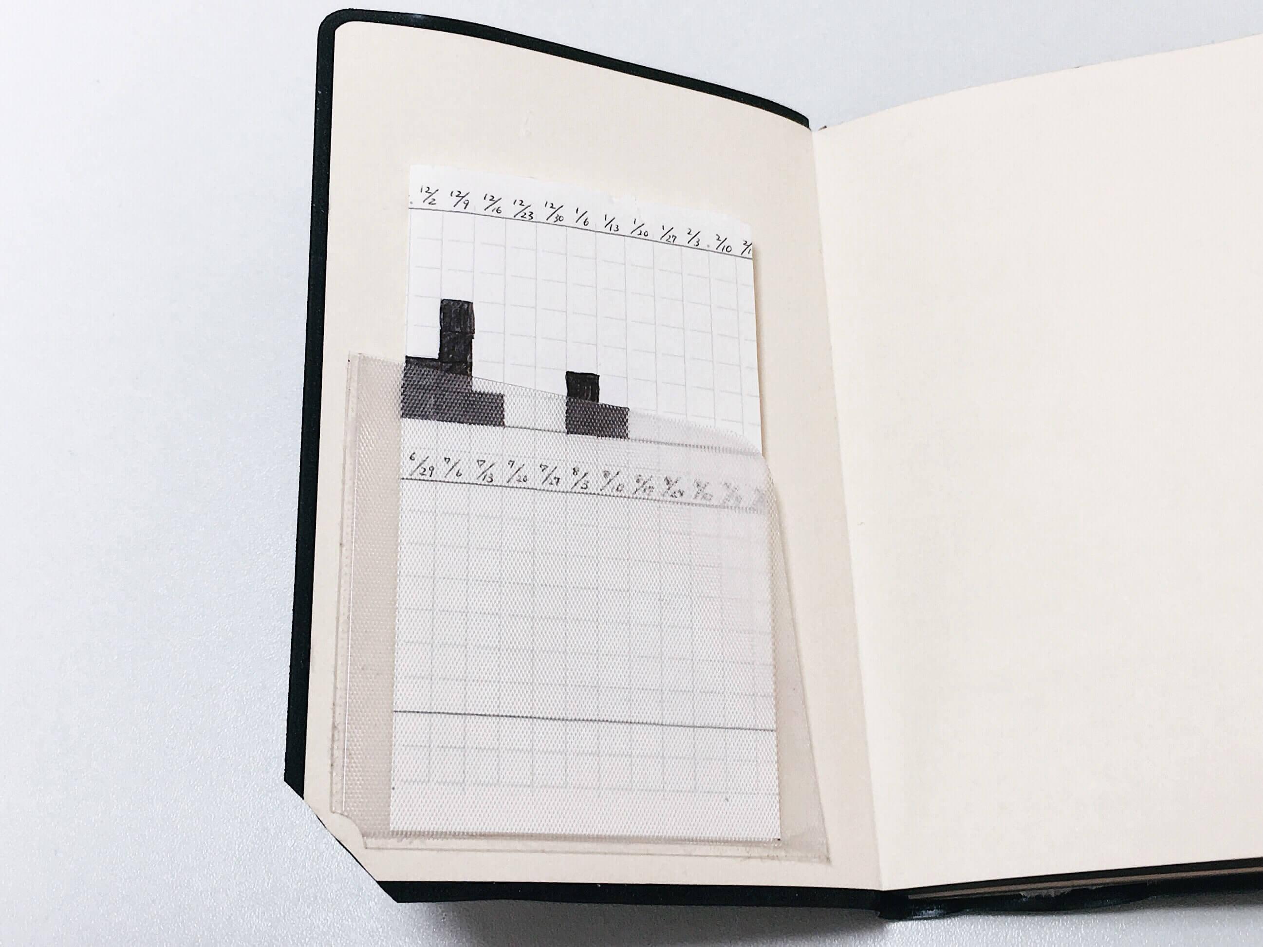 手帳の表紙の裏に付けたポケットに差し込んだグラフ