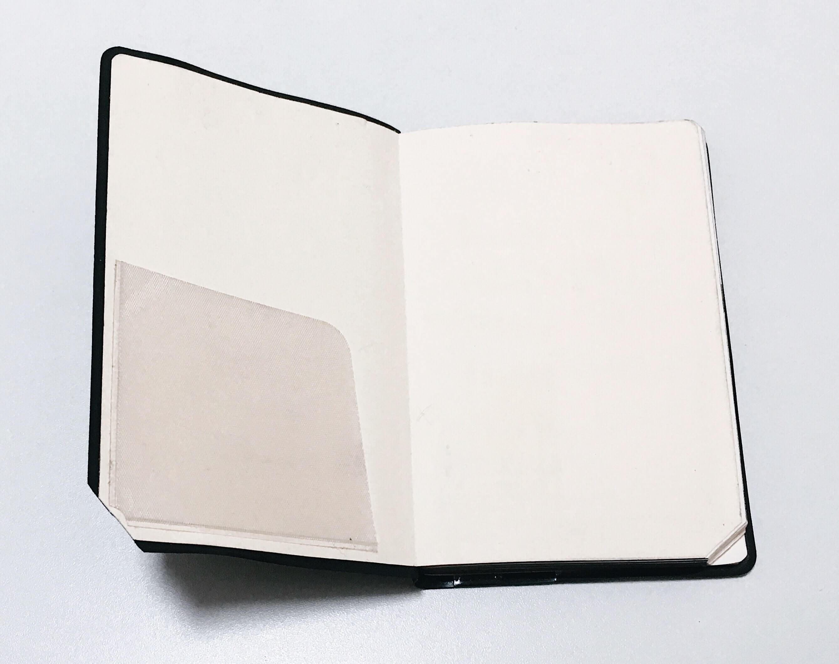 手帳の表紙の裏に貼った追加ポケット